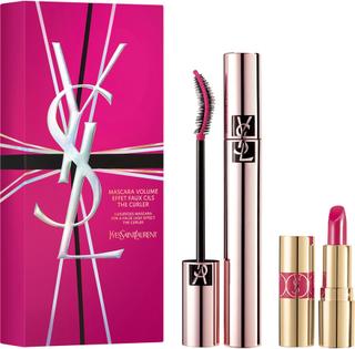 Yves Saint Laurent Volume Effet Faux Cils The Curler Mascara + Mini Rouge Volupte Shine Lip Colour n 49