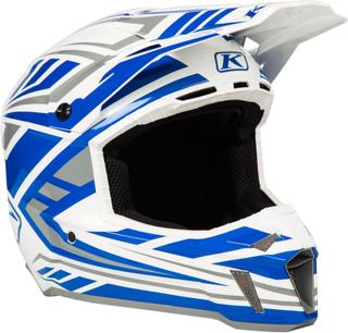 Klim F3 Velocity White Motocross hjälm Vit Blå L