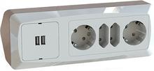 Hörnbox Novett STD med USB & 2+2 vägguttag