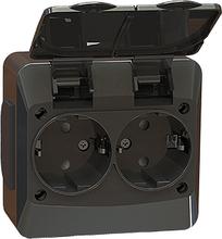 Vägguttag svart IP44 utanpåliggande - Novett IP44
