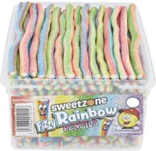100 stk Sweetzone Fizzy Rainbow Pencils / Godteristenger - Halal Sertifisert