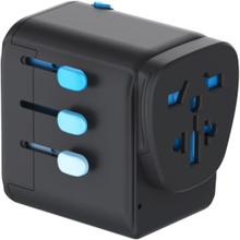 Zendure Passport Pro Resettable Grounded Travel Adapter Laddare Svart OneSize