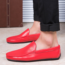 White Red Black Loafers 2019 Summer Men Flat Shoes Casual Light Fashion Trend Slip On Driving Shoes Mens Loafers Leather Shoes
