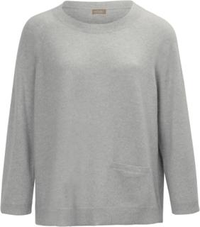 Rundhalsad tröja i ren kashmir från include grå