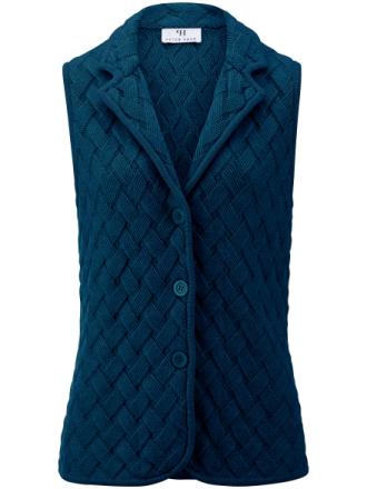 Stickad väst i 100% ren ny ull, Biella Yarn från Peter Hahn blå