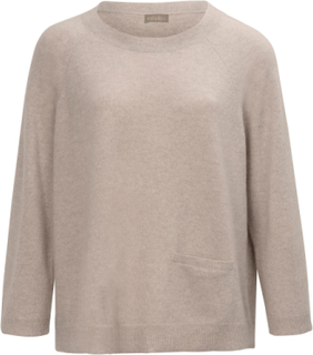 Rundhalsad tröja i ren kashmir från include beige