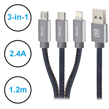 Recci Jeans 3-i-1 USB-kabel - Lightning, Type-C, MicroUSB - 1.2m
