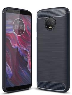Motorola Moto G6 børstet karbon fiber tekstur - mørk blå