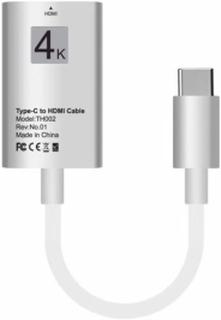 Adapter stödjer 4K USB type-C till HDMI för Samsung Galaxy S8/S8+/Note 8 LG G5 15cm - Silver