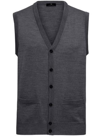Stickad väst i 100% ren ny ull från Peter Hahn grå