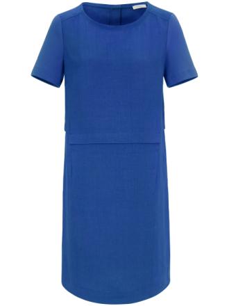 Kortärmad klänning i linne från Riani blå