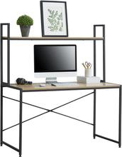[en.casa]® Steffenberg skrivbord med hylla-140x120x60cm-stål / spånskiva-svart-ek optik