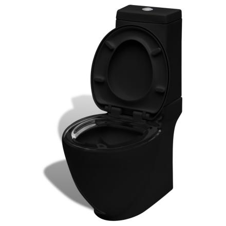 vidaXL Firkantet Keramisk Toalettskål - Svart