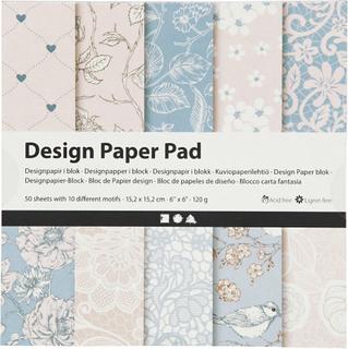 Designpapir i blok, ark 15,2x15,2 cm, 120 g, rosa, 50ark