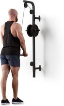 Stronghold latsdrag vägginstallation 100kg 2,5m kabel tricepsstång svart