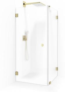 Macro Design Grace Swing Duschhörna 80x80 frostat glas mässing beslag