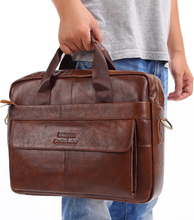 """Brand Men Genuine Leather Handbags Large Leather 15"""" Laptop Bags Briefcases Casual Messenger Bag Business Men's Travel Bags"""