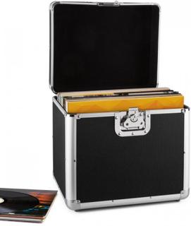 Tidskapsel aluminium-väska för grammofonskivor vinyl-case 70 styck LP svart