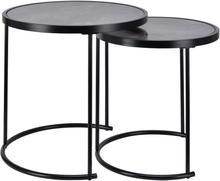 Ronja satsbord (2st bord) - Svart / Grönt marmorglas