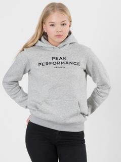 Peak Performance COTTON SWEATSHIRT LOGO Grå Huvtröjor till Tjej