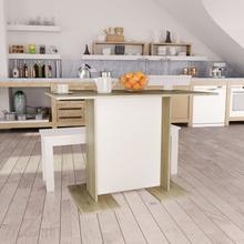 vidaXL Matbord vit och sonoma-ek 110x60x75 cm spånskiva