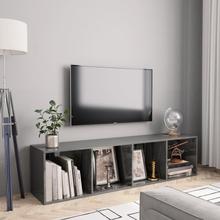 vidaXL Bokhylla/TV-bänk grå högglans 143x30x36 cm