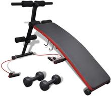 Vidaxl justerbar multifunktionell sit-up-bänk med 3 kg hantlar