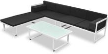vidaXL Loungegrupp för trädgården med dynor 4 delar aluminium svart