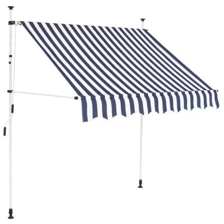 vidaXL foldemarkise manuel betjening 150 cm blå og hvid striber