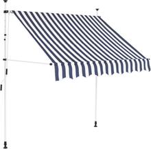vidaXL foldemarkise manuel betjening 200 cm blå og hvid striber