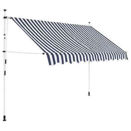 vidaXL foldemarkise manuel betjening 250 cm blå og hvid striber