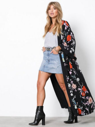 Kåper - Svartmønstret NLY Trend Long Belted Kimono