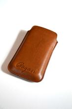 Mobilfodral med kortfack (iPhone 4) – Cognac