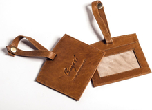 Luggage tag läder - Brun