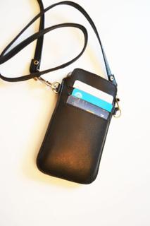 Mobilfodral med kortfack och halsband (iPhone 4) – Svart