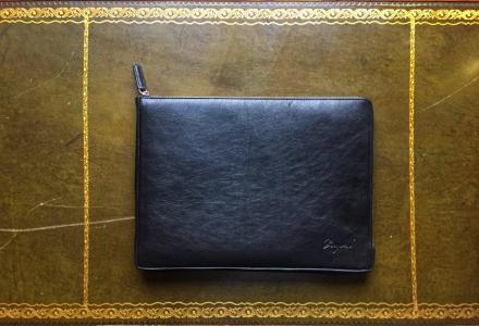 Laptop fodral i läder - Svart