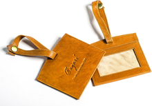 Luggage tag läder - Cognac