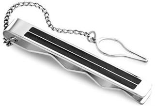 Gentlemen Stilren slipsenål - Silver/Black