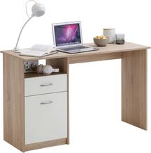 FMD Skrivbord med 1 låda 123x50x76,5 cm ek och vit