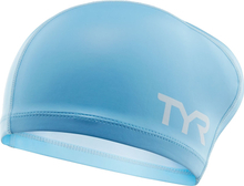 TYR Silicone Comfort Long Hair Swimming Cap light blue 2019 Badehetter