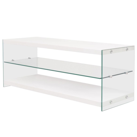 vidaXL TV-benk glass MDF høyglans hvit