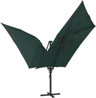 vidaXL Dubbelt parasoll med 2 tak 300x300 cm grön