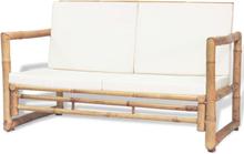 vidaXL Trädgårdssoffa 2-sits med dynor bambu