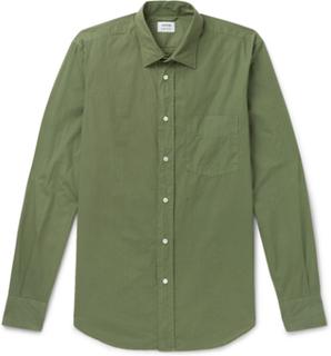 Slim-fit Garment-dyed Cotton-poplin Shirt - Green