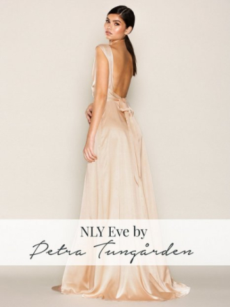 NLY Eve Bow Back Satin Gown Maxiklänningar Rose Champagne Glow