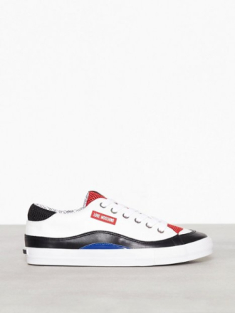 Love Moschino Lather Sneaker Low Top Vit