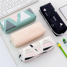 1pc Canvas Starry Sky Pencil Case Geometry Pencil Bag Big Pen Box School Pencil Cases for Students Stationery School Supplies
