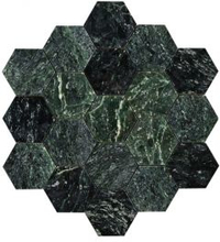 Bricmate U Hexagon Large Green Marble Polished Marmormosaik 100x100