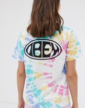 Obey relaxed t-shirt with chest and back logo in rainbow tie dye - Rainbow tie dye