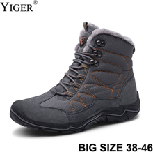 YIGER New Men snow boots Winter man Cotton shoes Waterproof non-slip lace-up hiking shoes male casual hoes large size 38-46 0222